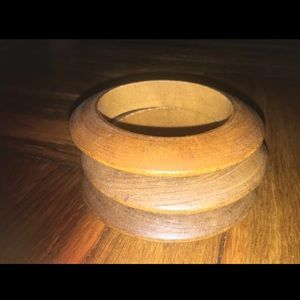 Flat Surface Round Wooded Tribal Bangles